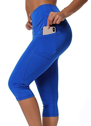 INSTINNCT Damen Doppeltaschen Sport Leggings 3/4 Yogahose Sporthose Laufhose Training Tights mit Handytasche Capris(normal) - Blau S