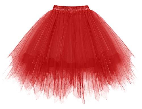 HomRain Tutu Tüllrock Damen Tütü Rock Festliche Tüll Partykleid Ballet Firt Tulle Tanzkleid Unterkleid Karneval Kostüm Crinoline Petticoat für Rockabilly Kleid Red M