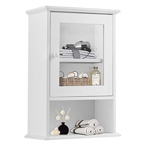 Tangkula Bathroom Cabinet, Wall Mounted Storage Organizer W/Door and Open Shelf, Hanging Medicine Cabinet, White