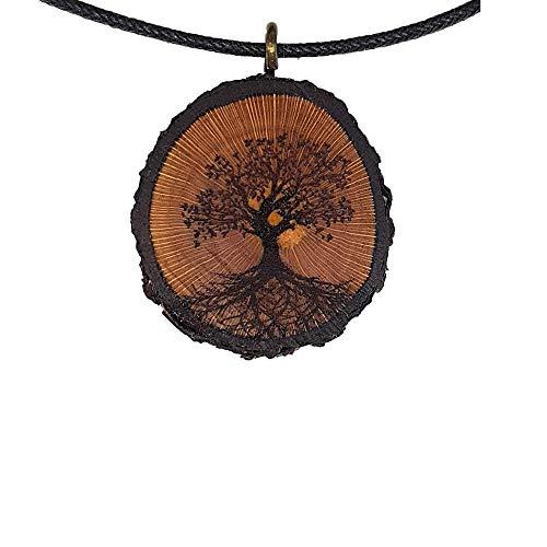 Baum des Lebens Holz Hals-Kette - Natur - Holzanhänger - Vegan - Nachhaltig - Frauen - Halskette - Gravur - Yoga - Bedeutung - Geschenk - Natur-Schmuck - Damen - Holzschmuck