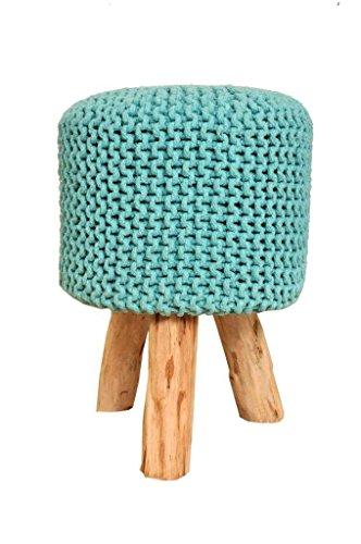 Zitkruk barkruk kruk met houten poten Scheme Ø 55cm l met katoenen bekleding handgeknoopt | Natuurlijk bewerkt | handgemaakt | Kruk groot of klein | keuze uit verschillende kleuren (mint (MT), 45cm)