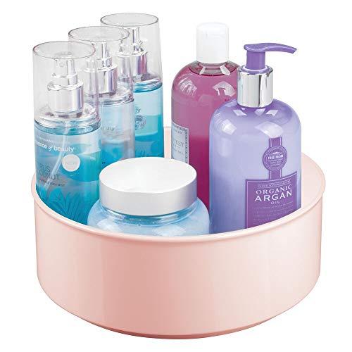 mDesign Base giratoria para cosméticos – Elegante organizador de maquillaje para productos de belleza, cremas y medicinas – Plataformas giratorias redondas para el baño – rosa claro