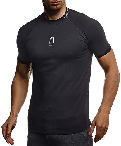 Leif Nelson Gym Herren Fitness T-Shirt Slim Fit Moderner Männer Bodybuilder Trainingsshirt Kurzarm Top Herren Sport T-Shirt - Bekleidung für Bodybuilding Training LN8286 Schwarz-Weiß Large