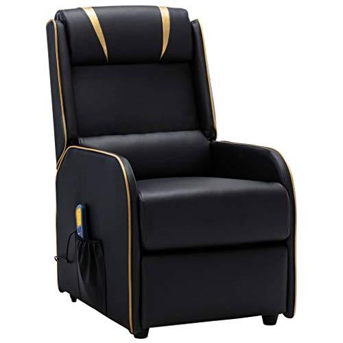 UnfadeMemory Poltrona Massaggiante Reclinabile Recliner in Similpelle, Elettrica Poltrone Relax Telecomando | Design Moderno (Nera e Oro)