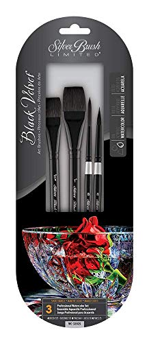 Silver Brush Limited WC-3202S Black Velvet Watercolor Brush Set, Set of 4 Brushes, Square Wash Brushes Sized 3/4 Inch and 1 Inch, Script Liner Brush Size 8, and Round Brush Size 8