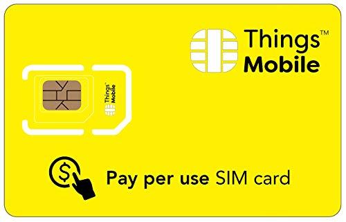 SIM Card a consumo Things Mobile per IoT e M2M con copertura globale e rete multi-operatore GSM 2G 3G 4G LTE, senza costi fissi, senza scadenza e tariffe competitive, con 10 € di credito incluso
