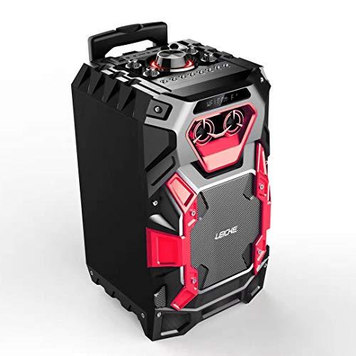 LEICKE DJ ROXXX Trolley Lautsprecher Pro | Party Lautsprecher tragbar, Speaker mit USB, Bluetooth, Aux In, UKW Radio, Gitarren und Mikrofon Anschluss, Musikbox mit Beleuchtung