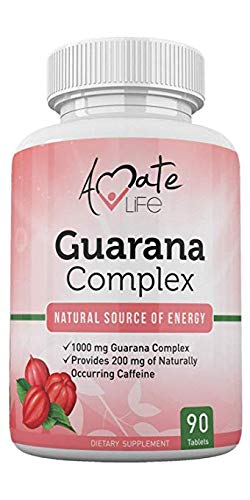 Guarana Complex - Guarana Complex Energizer - Caffeine Energizing Supplement - Natural Source of Energy - Increasing Mind Functions Supplement - 1000mg of Guarana - 90 Tablets by Amate Life