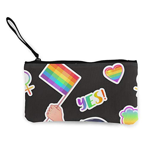 LGBT Logo Symbols Stickers Flags Canvas Coin Purse Zippered Travel Cosmetics Bag Multi-Function Makeup Bags Cellphone Bag Holder Bags Pencil Packet
