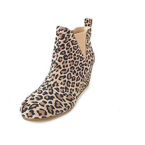TOMS Women's Kelsey Wedge Bootie Desert Tan Leopard Print Suede 6 M
