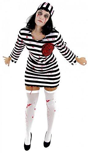 Foxxeo Zombie Sträfling Kostüm für Damen - Größe XS-M - Streflings Gefangene Halloween Kleid Horror Party Fasching Karneval Größe M