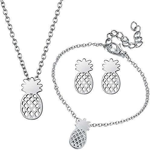KINGVON, collar de piña hueco simple, pendientes, pulsera, conjunto de joyas de piña y fruta hawaiana para mujer