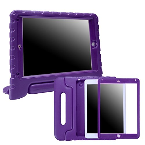 HDE Case for iPad 9.7-inch 2018 / 2017 Kids Shockproof Bumper Hard Cover Handle Stand with Built in Screen Protector for New Apple Education iPad 9.7 Inch (6th Gen) / 5th Generation iPad 9.7 - Purple