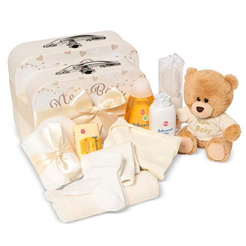 Set de regalo para el bebé - Cesta de regalo neutra llena de productos para el bebé en 2 cajas de almacenamiento de crema unisex
