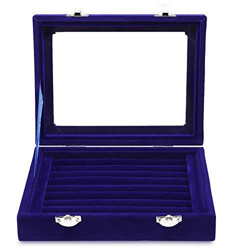 Sección Cristal Joyas Anillo Organizador De Exhibición Estuche Soporte para Bandeja Pendientes Caja De Almacenamiento Pendientes Soporte para Almacenamiento Exhibición De Joyas Caja De Almacenamiento