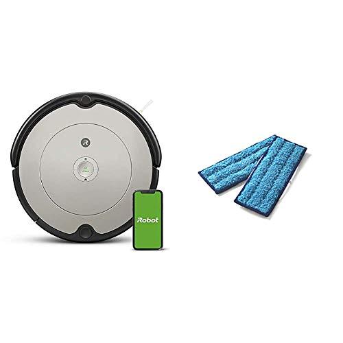 【セット買い】【Amazon.co.jp限定】ルンバ 692 アイロボット ロボット掃除機 WiFi対応 遠隔操作 自動充電 グレー R692060 【Alexa対応】 最大幅340 x 高さ92(mm) & 【正規品】 ウェットモップパッド(洗濯可能)2枚セット ブラーバジェ ット 240 / 250 対応 4631656