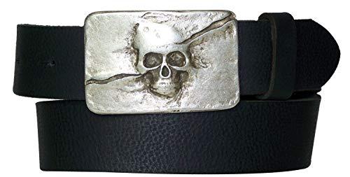 FRONHOFER Gürtel 4 cm Totenkopf Gürtelschnalle mattsilber Skull Koppelschnalle Totenkopf Gürtel 17614, Größe:Körperumfang 110 cm/Gesamtlänge 125 cm, Farbe:Schwarz