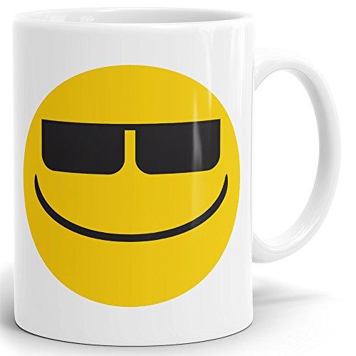 Drucksaal Smiley Smilie Emoji Emoticon Tasse-Kaffeebecher-Becher Smilie-Gesicht mit Sonnenbrille