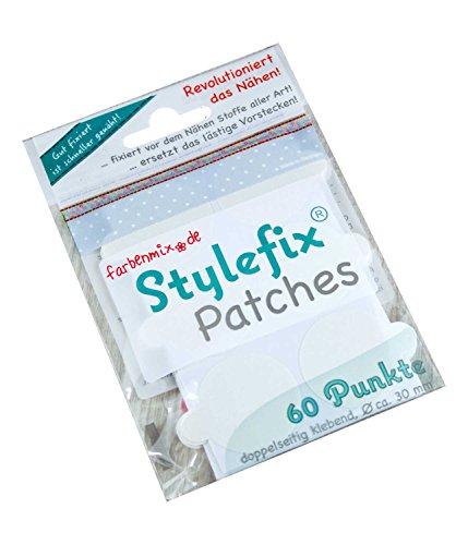 Farbenmix Stylefix-Patches zum Nähen & Sticken, für Applikationen (VPE = 60 Stück, ca. 30mm Durchmesser, rund, doppelseitig klebend)
