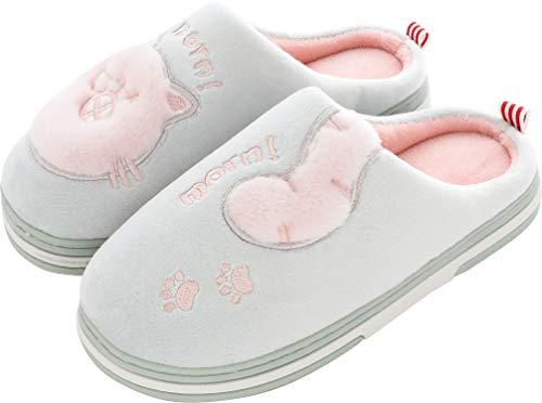 Pantofole Invernali Donna Pantofole da Casa Uomo Antiscivolo Scarpe Peluche Pantofole Caldo Ciabatte di Cotone Scarpe Indoor Outdoor- Verde - 35/36 EU (Taglia Produttore 36-37)