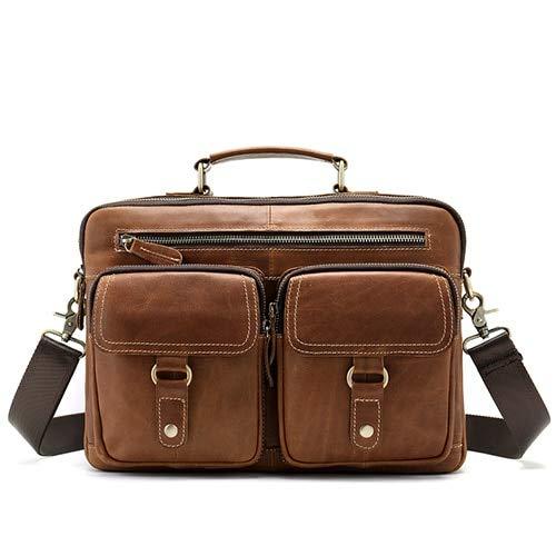 QSGNR Aktentasche Männer Taschen Aus Echtem Leder Laptoptasche 13 Zoll Lässige Crossbody Taschen Für Umhängetasche Männer Schulter Handtasche Leder Öl Rot Braun
