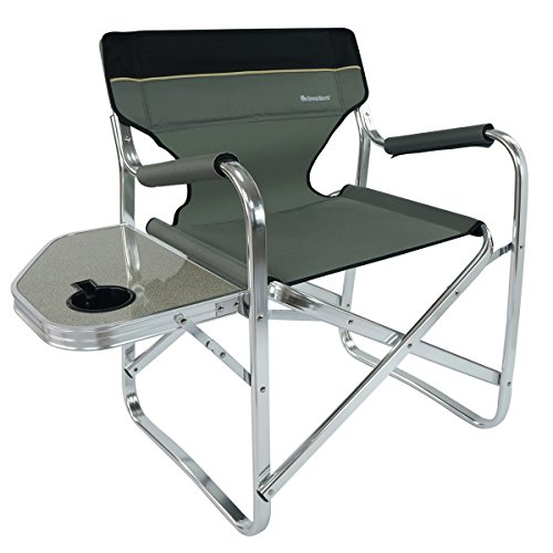OnwaySports Aluminum Frame Director Chair with Side Table Lightweight Foldable Portable for Camping in Grey