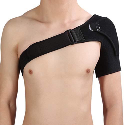 Soporte de hombro de , transpirable Compresión de hombro ajustable Cinturón de protección de la banda de abrigo Vendaje deportivo Prevención de lesiones articulares Dolor de esguince y tendinitis, Com