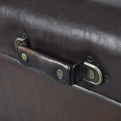 vidaXL 3 tlg. Sitztruhe Sitzbank Aufbewahrungstruhe Sitzhocker Sitzset Braun - 3
