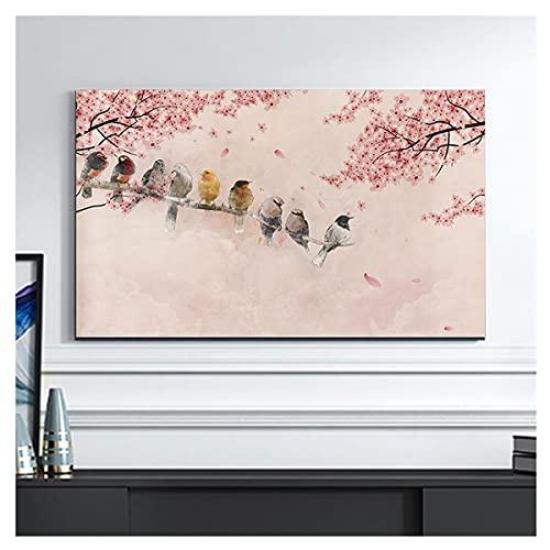 NAKAN Funda para Televisor Interior 19-65 Pulgadas Antipolvo Rústico Estampado de Flores de Pájaros Protector de Pantalla de TV para LED LCD OLED(Size:40-43in,Color:1)