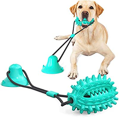 Acecy Dog Tough Chew Indestuctible Toys, Suction Cup Molar Teeth Interactive Puzzle Aggressive Chew Toys for Small Medium Large Breed, Puppy Dental Teeth Cleaning Tug Toy