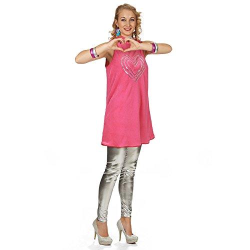 Elbenwald Vestido de Novia de Fiesta de Disfraces Damen Rosa corazón de Lentejuelas - 32/34