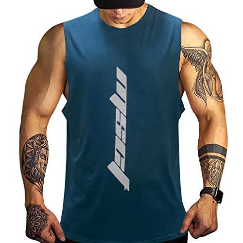 LVFU タンクトップ メンズ トレーニング ノースリーブ ベスト ジム用 筋トレウェア ボディビル トレーニング スポーツウェア 多色 ネイビー 2XL