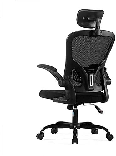 Silla de oficina de malla con respaldo alto, silla de oficina ergonómica, sillas de escritorio, sillas de escritorio para oficina en casa con reposacabezas ajustable, brazos abatibles, gris 61x33x57cm