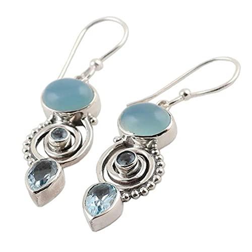 Ruluti 1 par Cielo Azul Waterdrop Oval Spiral cuelga caída Gancho Colgando Pendientes joyería Regalos para Mujeres