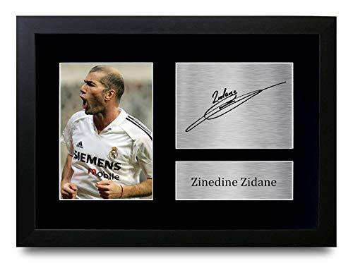 HWC Trading Zinedine Zidane A4 Gerahmte Signiert Gedruckt Autogramme Bild Druck-Fotoanzeige Geschenk Für Real Madrid Fußball Fans