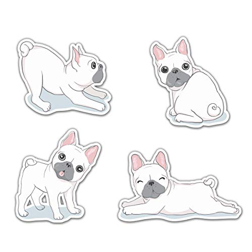 Cute White French Bulldogs Frenchies Set of 4 - 2' Each Vinyl Stickers - for Car Laptop Water Bottle Phone - Waterproof Decals