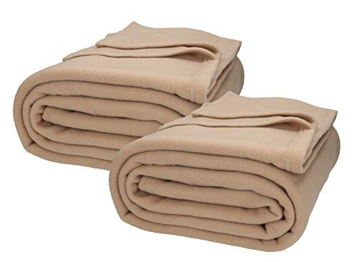 Betz 2 Stück Jumbo Fleecedecken Kuscheldecken in XXL Größe 220x240 cm Farbe Sand
