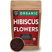 Organic Hibiscus Flowers | Loose Tea (100+ Cups) | Cut & Sifted | 8oz/226g Resealable Kraft Bag | 100% Raw From Egypt |by Feel Good Organics
