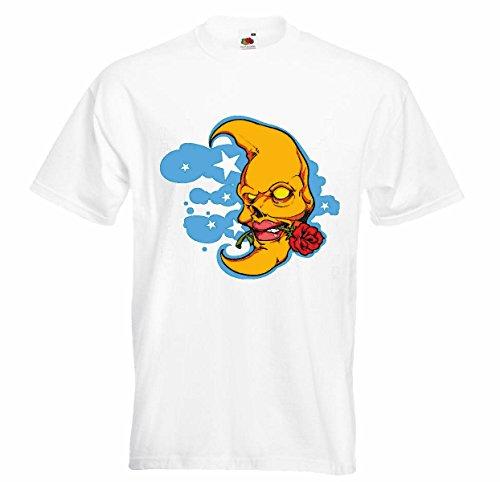 T-shirt Remera Vida de Art, Streetwear Hiphop ster van de maan Rose Maan volle maan liefde trouwkaart van de dag Legendary in wit