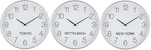 Eurotime Weltzeituhr Quarz 30 cm Kunststoffgehäuse Silber, Städtenamen frei gestaltbar, geräuscharmes Werk, kein Ticken, für Büro, Haushalt, Hobbyraum, Hotel etc; DREI Uhren im Set, 82800-07W3