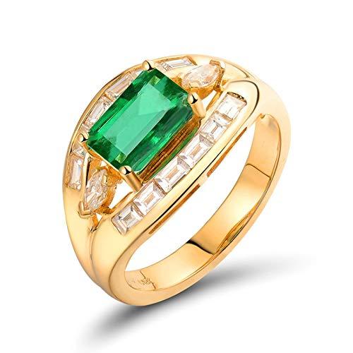 Beydodo Anillos de Compromiso Mujer,Anillos Oro Amarillo 18 Kilates Mujer Oro Verde Rectángulo Esmeralda Verde 1.45ct Diamante 0.82ct Talla 23,5(Circuferencia 63MM)