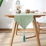 Camino de mesa para comedor con patrón verde de poliéster para decoración de cocina, mesa de bufanda para cenas y fiestas, algodón, verde, 33x200cm