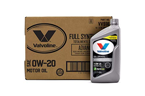 Valvoline Advanced Full Synthetic SAE 0W-20 Motor Oil 1 QT, Case of 6