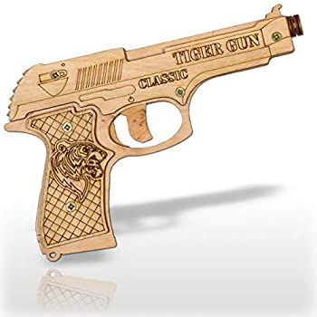 Rubber Band Gun Toy Pistol for Kids Age 6 and up with Ammo and Targets for Indoor Outdoor Games and Pretend Play | Wooden Toy Gun That Shoots for Boys and Adults | Tiger Gun Classic