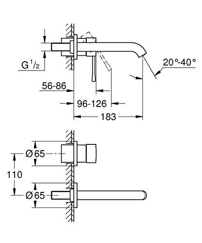 Grohe Essence 2-Loch-Waschtischbatterie Wandmontage - 2