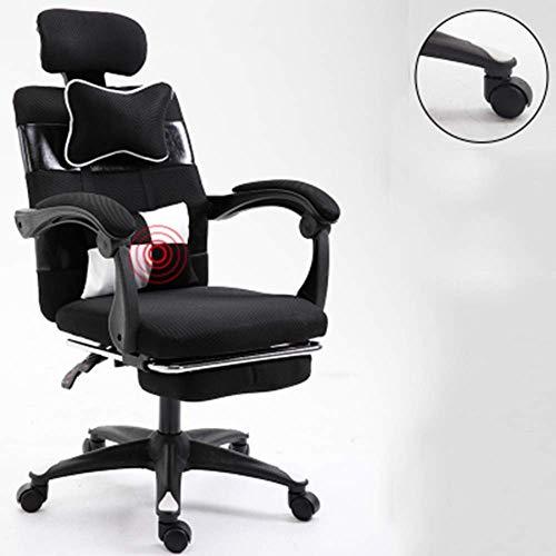 Estilo Que compite con los Juegos Silla ergonomica con Masaje Lumbar de Apoyo, sillas de Oficina Sillon for PC Gamer con reposapies retractil Negro Gaming Chair RVTYR (Color : Black)