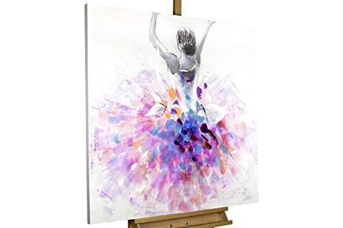 Kunstloft® Cuadro en acrílico 'Primera Bailarina' 80x80cm | Original Pintura XXL Pintado a Mano sobre Lienzo | Fucsia | Cuadro acrílico de Arte Moderno con Marco
