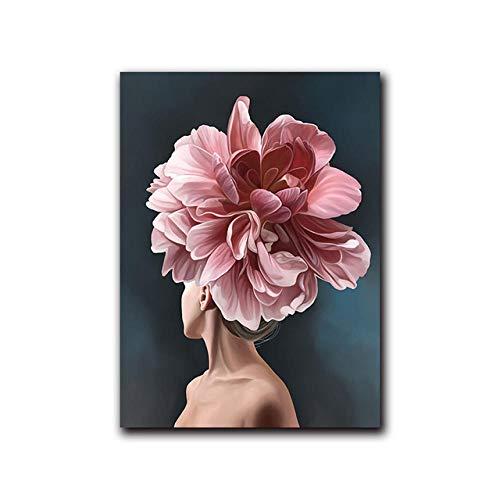 Décoration Murale pour Salon Rose Blanc Fleur Dame Affiche Personnalité Mode Abstrait Femme Peintures sur Toile Mur Art Photos Impression et Affiche Décor À La Maison No Frame
