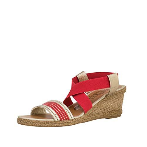 Fitters Footwear That Fits Damas Sandalia Leonie sintético Sandalia con cuña de Rafia y moño Textil (45 EU, Coral)