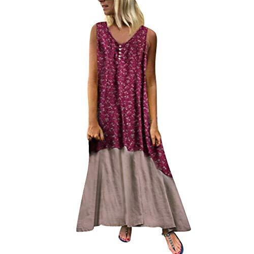 VJGOAL dames jurk zomer elegant grote maten lang strandjurk losse mouwloos katoen en linnen print naaien jurk voor vrouwen